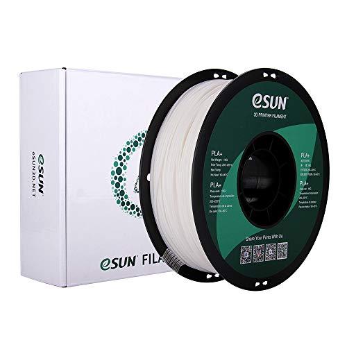 eSUN PLA+ Filament 1.75mm, 3D Printer Filament PLA Plus, Dimensional Accuracy +/- 0.03mm, 1KG (2.2 LBS) Spool 3D Printing Filament for 3D Printers, White