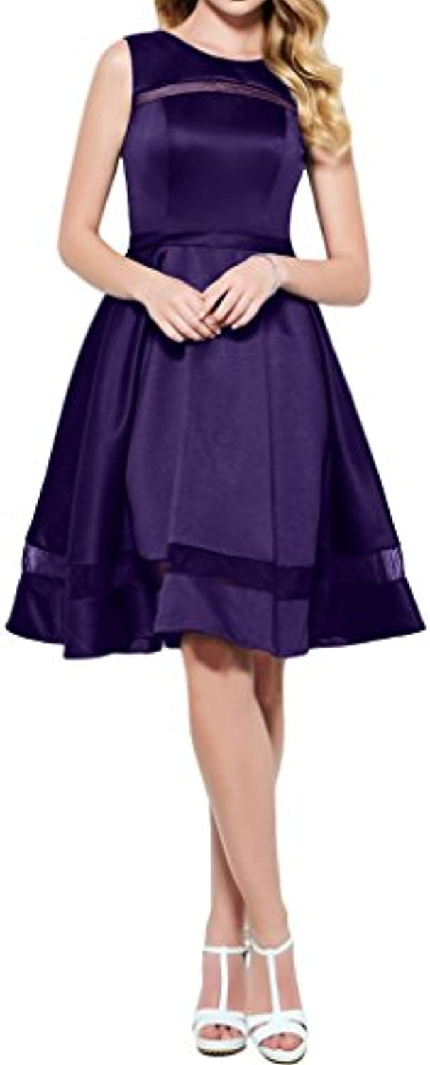 DINGZAN Satin Knee Length Homecoming Dresses Prom Gowns 2018