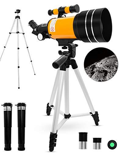 Uong Astronomisches Teleskop, Professionelle 150X 90X 45X Kinder Teleskop Fernrohr 70mm Refraktor Teleskop mit Stativ Lernspielzeug für Astronomie Anfänger Kinder Bildung und Geschenk (Gelb)
