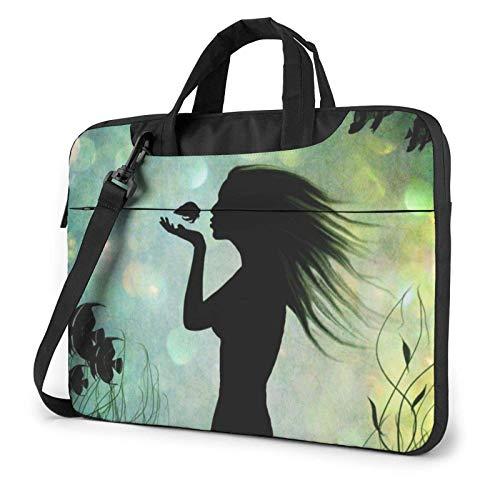 Animated Mermaid Kissing Fish Laptop Bag Messenger Bag Briefcase Satchel Shoulder Crossbody Sling Working Bag