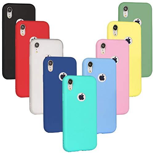 9 x Funda iPhone XR, XiaoXiMi Cárcasa Silicona TPU, Funda Ultra-Delgado Flexible - [ Negro + Rojo + Rosa + Verde + Translúcido + Amarillo + Azul Claro + Verde Claro + Rosa Claro ]