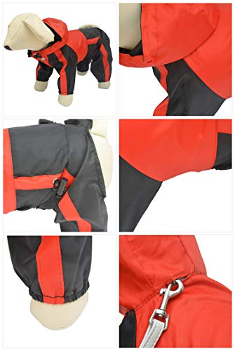 Lovelonglong Dog Hooded Raincoat, Small Dog Rain Jacket Poncho Waterproof Clothes with Hood Breathable 4 Feet Four Legs Rain Coats for Small Medium Large Pet Dogs Red S