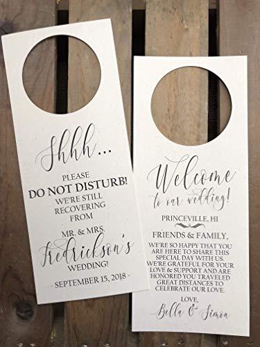 Hotel Welcome Bag Gift Personalized Wedding Door Hanger Favor Disney Couples Do Not Disturb Door Hanger
