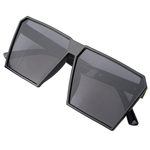 BLDEN Großer Rahmen Sonnenbrille Spiegel Reflektierend Oversized Vintage Retro Brille Unisex Für Herren Frauen GL1011-BLACK