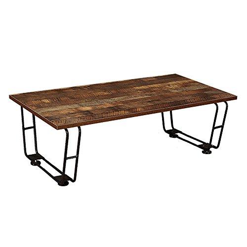 快適ホームズ ヴィンテージ風 ローテーブル 幅100cm アイアン 鉄筋脚 センターテーブル ブラウン SI-014 BR