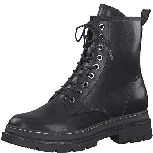 Tamaris Damen Stiefel, Frauen Schnürstiefel, leger Boots Combat schnürung weiblich Lady Ladies Women's Women Woman,Black MATT,37 EU / 4 UK