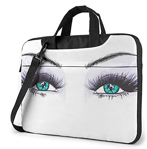 Maletín Funda para Ordenador Portátil Maquillaje Mujer Ojos Portadocumentos Maletines y Bolso Bandolera para Portátil 13/14/15.6 Pulgadas