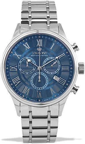 LOUIS XVI Herren-Armbanduhr Danton Silber Blau Stahlband Römische Zahlen Chronograph Analog Quarz Edelstahl 977
