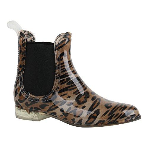 Bequeme Damen Schuhe Stiefeletten Gummistiefel Lack 156879 Leopard Schwarz 36 Flandell