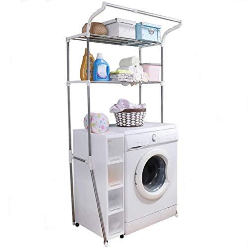 Rejilla para lavadora Estante de lavado de espacio creativo, perchero de lavadora de 2 capas, estante de lavadora de acero inoxidable, Tipo de estante para colgar Estante de lavadora, Baño Aseo Almace