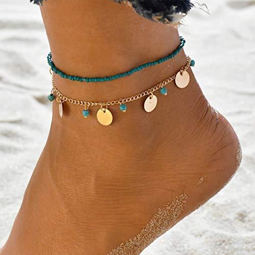Genglass Boho Turquoise en couches Bracelets de cheville en or Sequin cheville Bracelets de plage au pied de la chaîne Bijoux pour les femmes et les filles (pack de 2)