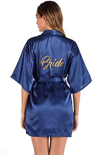 MARYSAY Robe de mariée ou de demoiselle d'honneur en satin avec col en V oblique - Pour fête de mariage - Taille S à XXL - Bleu - L