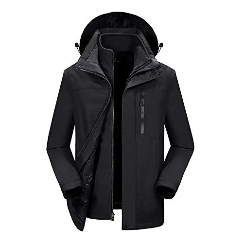 QINOS wasserdichte warme Damen Softshell Windjacke,Atmungsaktive Wanderjacke Sweatershirts,Mit Kapuze für Camping wandern Coat,Black-L