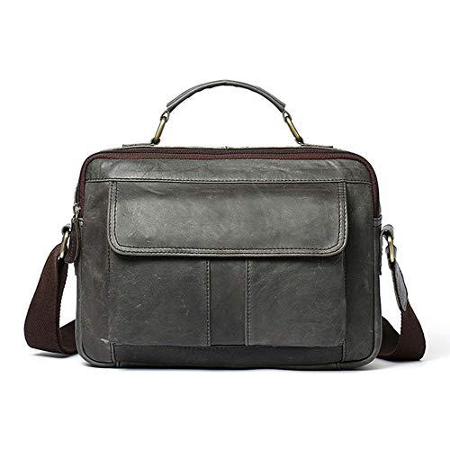 Poooooi Business Aktentasche Leder Mann Tasche Männer Schultertasche Messenger Bag Beiläufigen Männer Art Und Weise S-Aktenkoffer,Grau