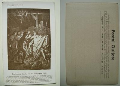 Antigua Postal - Old Postcard : Descomunal batalla con los pellejos del vino - Don Quijote