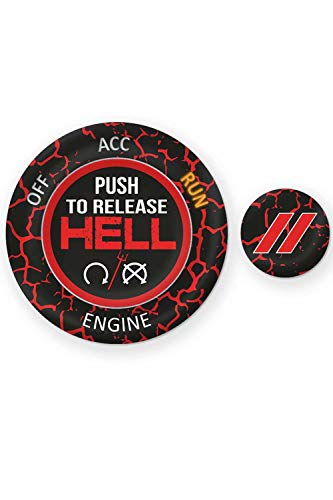 ToolEpic for Dodge Ram 1500 Challenger Charger Durango Accessories 2015-2020 - Engine Start Stop Button Overlay Ruby Red Sticker Emblem - Push to Release Hell Badge Unique Style - Perfect for Decals