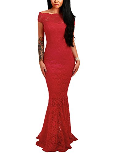 Elapsy Womens Sexy Off Shoulder Bardot Lace Cocktail Gown Fishtail Maxi Dress Red Medium