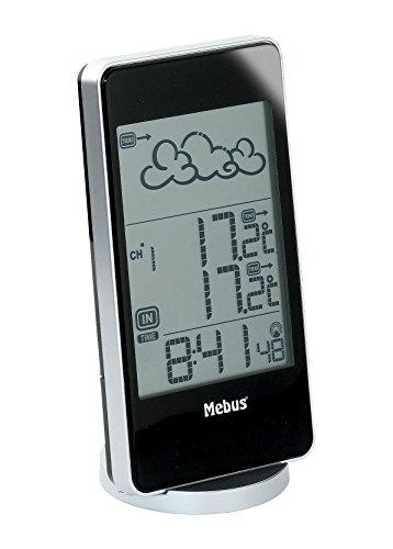 Mebus Funkwetterstation mit Wetterprognose, 40233, silber