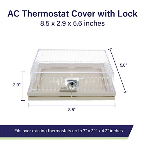 BISupply AC Thermostat Cover with Lock, AC Thermostat Lock Box Cover Thermostat Guar   d with Lock – 8.5 x 2.9 x 5.6 Inch