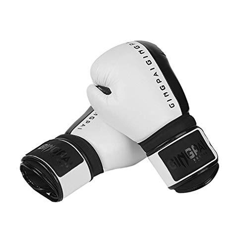 XYXZ Guantes De Boxeo MMA Adultos Niños Mujeres / Hombres Guantes De Boxeo PU Cuero MMA Muay Thai Mitts Sanda Gym Equipments, Blanco, 8Oz