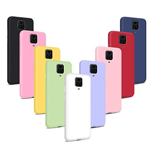 9x Funda para Xiaomi Redmi Note 9S/Note 9 Pro/Note 9 Pro MAX, Carcasas Flexible Suave TPU Silicona Ultra Delgado Protección Caso(Rosa Claro + Púrpura + Amarillo + Rosa Oscuro + Verde + Negro + Azul )