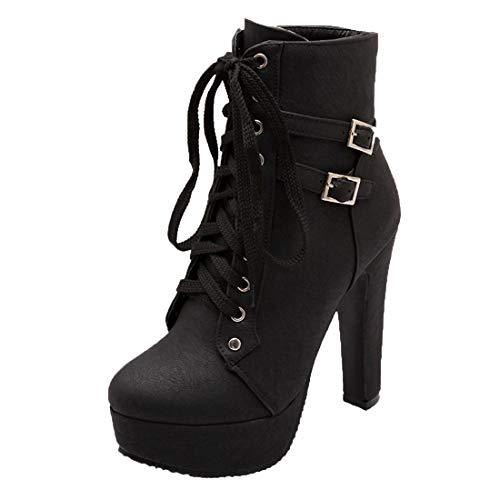 MISSUIT Damen Schnür Plateau Stiefeletten High Heels mit Schnürung und Blockabsatz Ankle Boots Kurzschaft Stiefel(Schwarz,43)