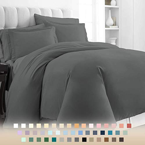 400 Thread Count Cotton Dark Grey Kingsize Duvet Cover Sets, 100% Long Staple Cotton Quilt Covers King Size, Luxurious Soft Sateen Duvet Covers King Size (100% Cotton Bedding Set King Size Dark Gray)