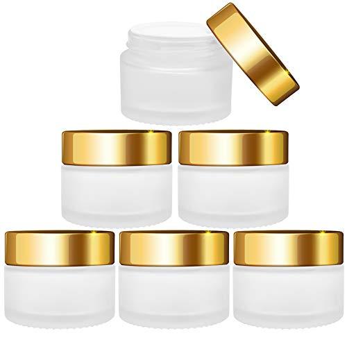 VINLINGDAI Glas-Tiegel Leer,Cremedose 30ml mit Goldenem Schraubverschluss,Super für selbstgemachte Kosmetika(6 Stück)