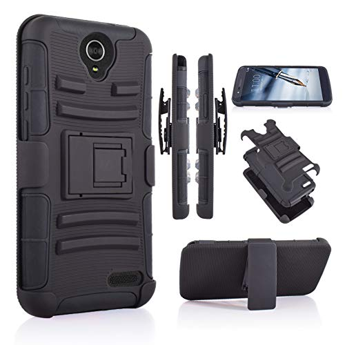 Customerfirst Case for ZTE Grand X3(Z959)  Zmax Grand LTE Z916  ZMAX Champ (Z917)  WARP 7  N9519  AVID 916 Belt Clip Holster Heavy Duty Dual Layer Hybrid Cover with Kickstand & Rugged Grip (Black)