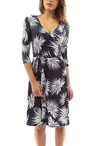 Jurken dames elegante mouwen 3/4 V-hals zomerjurk lente bloemenpatroon Vacation geschenken Midi jurk met riem mode blousejurk shirtjurk