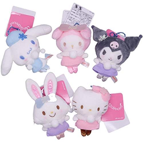 5pcs/Set Japan Cartoon Kawaii Kuromi Cinnamoroll Hello Kitty My Melody Charmmy Pompom Purin Soft Stuffed Plush Toy Keychain Pendant Kids Toys