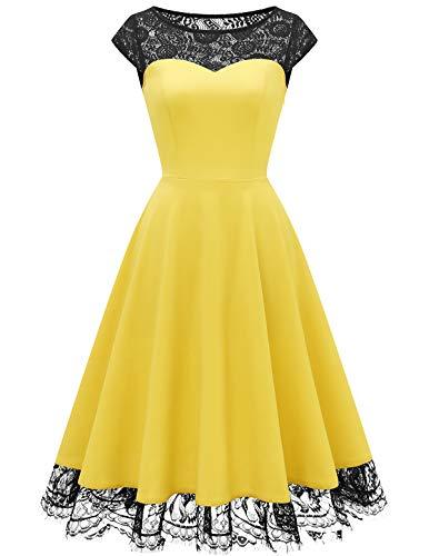 HomRain 1950er Elegant Spitzenkleid Rundhals festlich Brautjungfern Damen Cocktailkleider Abendkleid für Hochzeit Partykleid Yellow S