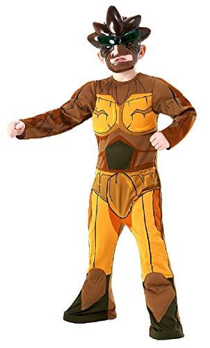 Disfraz de Gormiti Nick para nios de 7 a 8 aos, color marrn, talla L 7 a 8 aos