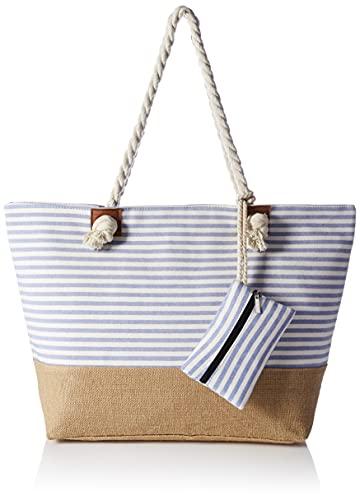 HIKARO große Strandtasche wasserabweisend und robust mit Reißverschluss Streifen hellblau