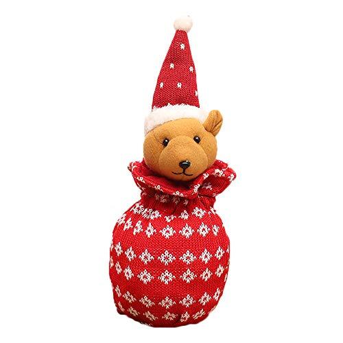 Adventskalender Stricken Beutel mit 3D Weihnachtlichem Motiv Süßigkeitenbeutel Stoffbeutel mit Kordel Geschenksäckchen 14x33cm Säckchen zum Befüllen DIY Geschenke Beutel Hängen 4 Stück