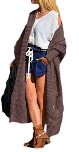 Damen Strickjacke Pullover Cardigan Langarm Oversize NEU 36 38 40 S M L (658) (Braun)