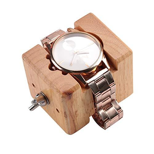 Soporte para Movimiento del Reloj, Estuche Profesional de Madera, Soporte para Caja de Reloj Bloque de Tornillo de sujeción Movimiento Reparación Reparación de Herramientas de relojero