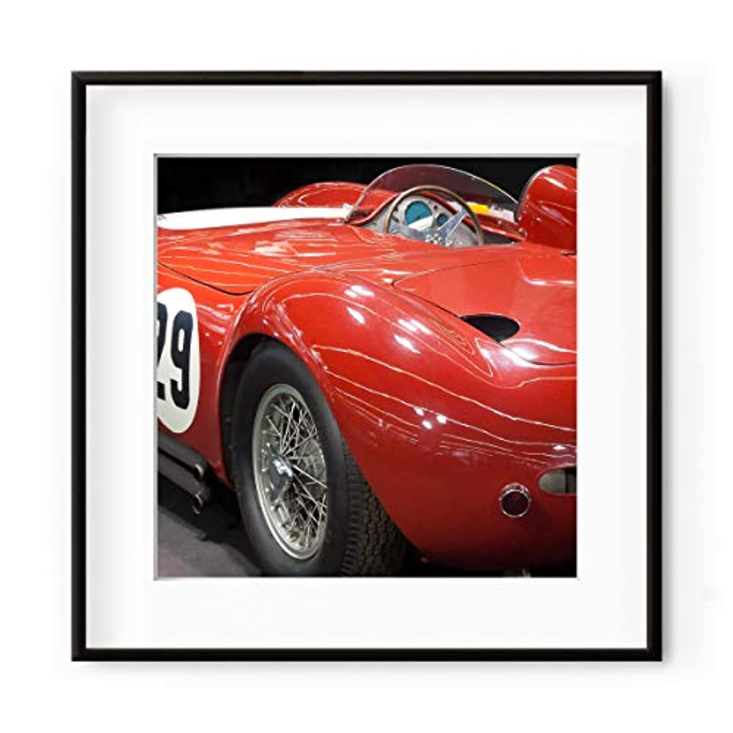 Red Sports Car, White Lacquered Wood Frame, with Mount, Multicolored, 40x40
