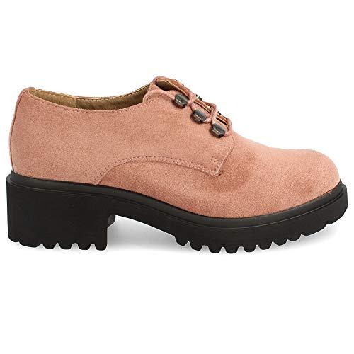 Zapato de Tacon y Plataforma, con Cordones Redondos, Tipo Blucher. Altura Tacon: 4,5 cm. Altura Plataforma: 2,5 cm. Talla 36 Nude