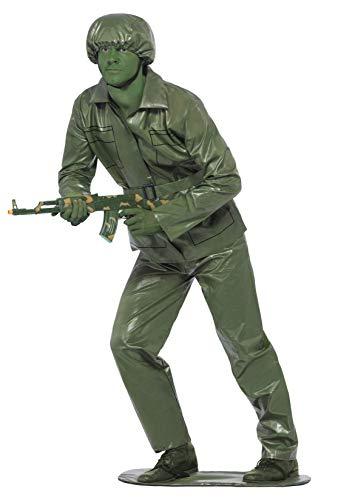 Smiffys Costume soldat jouet, Vert, avec haut, pantalon, ceinture, chapeau et base pour