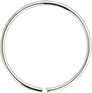 AZARIO LONDON - Anello da naso continuo, in oro 9 K, calibro 24 (0,4 mm) e Oro bianco, colore: 8 mm oro bianco, cod. NK9-M...