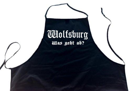 ShirtShop-Saar Wolfsburg - was geht ab?; Schürze (Latzschürze - Grillen, Kochen, Berufsbekleidung, Kochschürze), schwarz