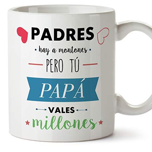 MUGFFINS Taza Papá - Padres hay a montones pero tú PAPÁ vales millones - Taza Desayuno con Frases/Mensajes. Idea Regalo Día del Padre. Cerámica 3