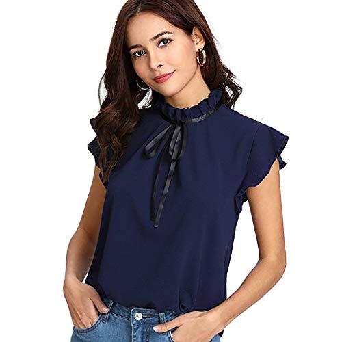 WHSHINE Damen Hemd, Frauen Fliege Ärmellos Mode Einfarbig Stehkragen Hemd Bluse T-Shirt Elegant Damen Sommer Bequem Chiffon Shirt Loose Freizeit Damenhemd