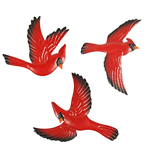 QULONG Garten Ornamente Outdoor 3pcs Wanddekoration Metall Dekorative Einzigartige Gedenkgeschenke Rote Farbe Vögel...