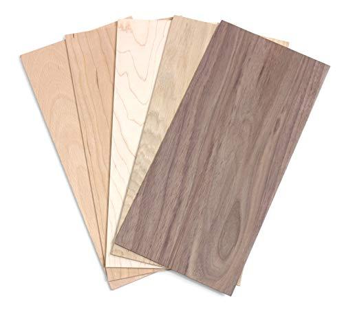 wodewa Juego de chapa de madera 2mm de espesor 5 especies de madera 30x14cm | 5 unidades...
