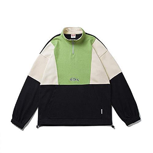 Preisvergleich Produktbild NOBRAND Herren Frühling Pullover Pullover Herren Vertikaler Kragen halber Reißverschluss Neutral Stickerei Top Coat Gr. X-Large,  Schwarz