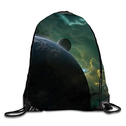ZHIZIQIU 1 Pieces Drawstring Bag Bright Light Shining Upon The Blue Planet Sack Pack Cinch Tote Kids Adults Storage Bag for Gym Traveling (Multicolored)