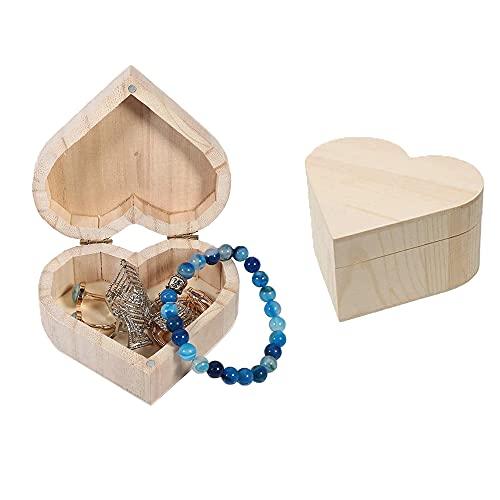 2 Piezas Joyero de Madera en Forma de Corazón, Caja de Almacenamiento de Madera, Caja Creativa de Madera con Cerradura Magnética para Baratijas, Joyas, Regalos, Bricolaje (Color de madera)