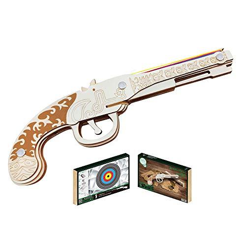 HFXZ2018 DIY Holz-Gewehr mit Gummibänder, Holz BAU 3D-Puzzle Spielzeug, Gun Modellbau Kits geeignet für Teenager und Erwachsene, für Kinder